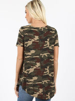 Short Sleeve Round Neck and Round Hem Camouflage Top