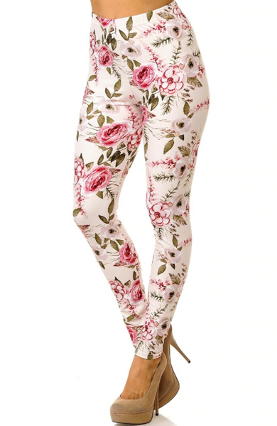 Buttery Soft Ivory Rose Floral Valentine One Size Leggings