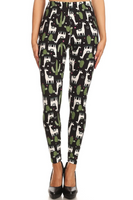 Buttery Soft Lama and Cactus Leggings
