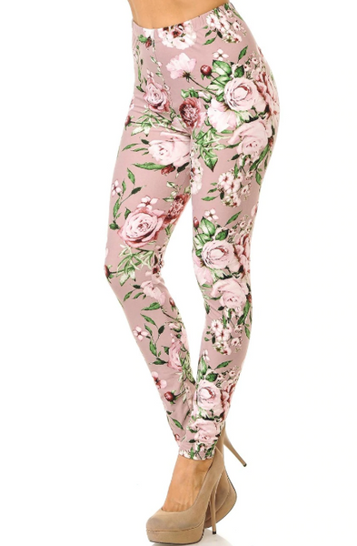 Buttery Soft Mauve Rose Floral Valentine Curvy Leggings