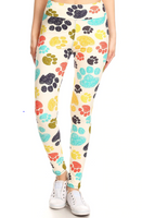Buttery Soft White Rainbow Paw Print Yoga One Size Leggings