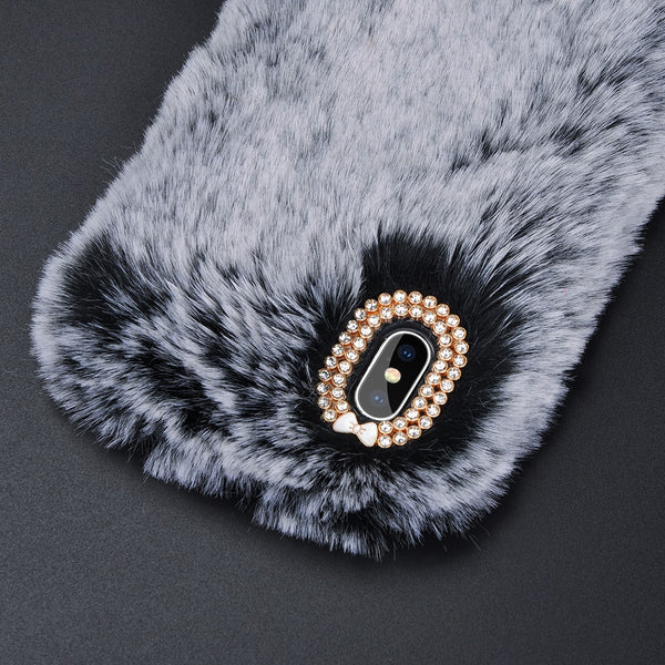 Tikitaka Faux Rabbit Fur Phone Case for iphone 8 7 6 6S Plus Luxury Bling Plush Furry Cover For iPhone X XS Max XR 5 5S SE Funda - Itstechy.com