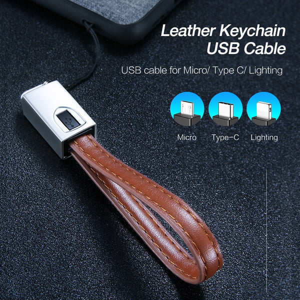 Lightning to USB Type C Cable For iPhone 7 6 X XS Max Cord Keychain Micro USB Cable For Samsung S7 S6 Edge Charging Wire - Itstechy.com