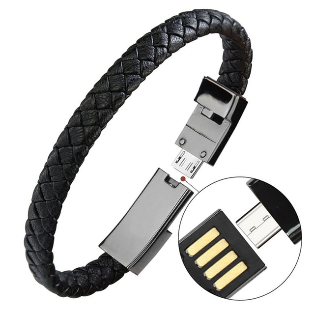 Portable Leather Mini Micro USB Bracelet Charger Data Charging Cable Sync Cord For iPhone6 6s Android Type-C Phone Cable - Itstechy.com