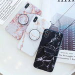 Marble Stone Case For iPhone 7 8 6 6s Plus Cases Stand Holder Soft Gel TPU Silicone Case For iPhone X XS XR XS Max Cover - Itstechy.com