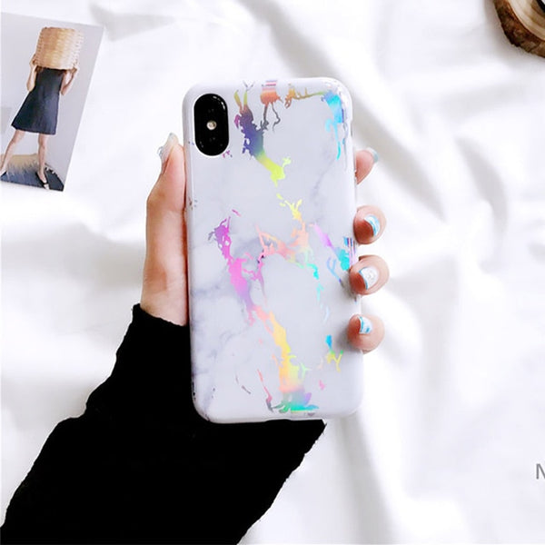 Laser Marble Texture Phone Case For iPhone XR XS Max X 6 6S 7 8 Plus Soft IMD Protective Phone Back Cover Coque - Itstechy.com