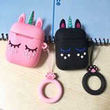 For airpods Case Cute Cartoon with lanyard Case For airpods 2 silicon Cover Wireless Earphone Case For air pods 2 airpods case - Itstechy.com