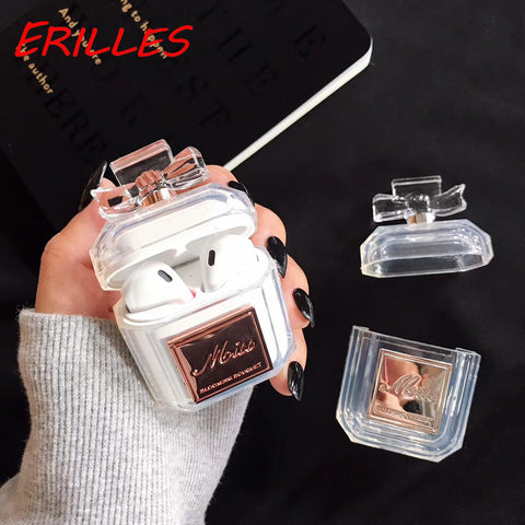 Luxury Perfume Bottle for Airpods Headphone Case Luxury Shock and Drop Resistant Transparent TPU Soft Case - Itstechy.com