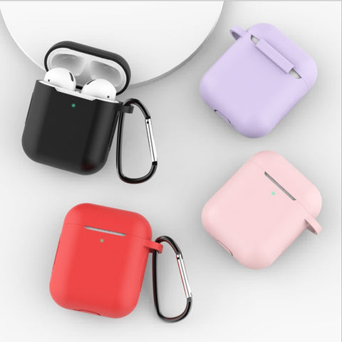 For AirPods Silicone Cover Case Ear Protective Skin for with Apple Case 2 And Hook Anti-lost Ear Hook AirPods No Cover