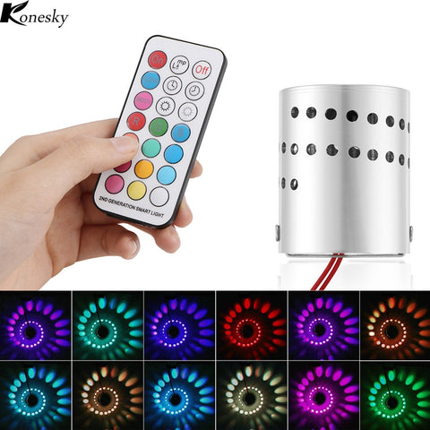 Konesky Modern LED Wall Light Aluminum Hollow Cylinder RGB 3W Remote Control Indoor Outdoor Home Lightinh AC 85-265V - Itstechy.com