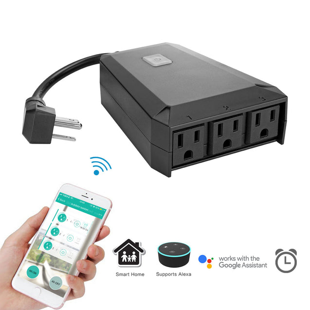 WiFi Smart  Plug 1 to 3 Extension Socket Outdoor Smart Outlet IP44 Waterproof Timer For iOS Android Smart Home - Itstechy.com