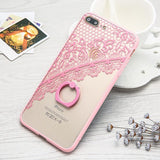 "Newest Fashion Ring Grip Phone Cases For iphone 7 6 6S Plus Case 4.7"" 5.5"" Elegant Lace Flowers Cover With Ring Holder Kickstand - Itstechy.com"