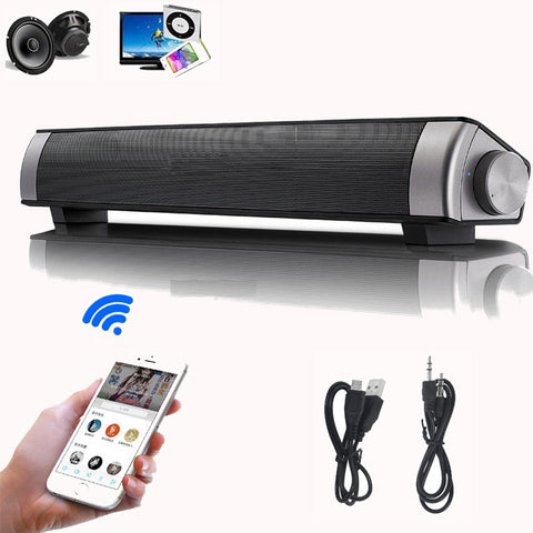 S08 USB Soundbar Portable Wireless Bluetooth Speaker Stereo Super Bass Sound Box Support TF Aux-in Hands Free Call Music Player (Black) - Itstechy.com