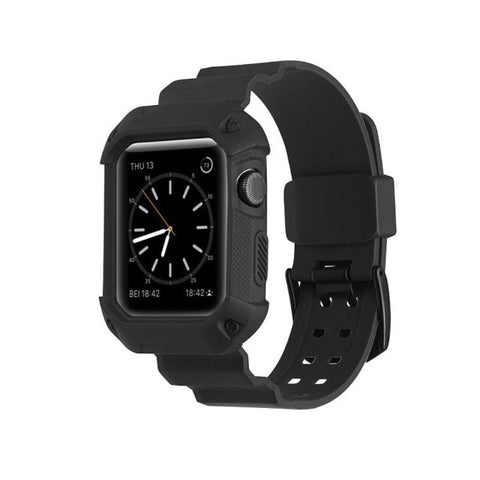 Silicone Replacement Watch Band Wrist Strap With Protective Case Cover Armor For Apple iWatch Series 1 2 3 Smart Watch - Itstechy.com