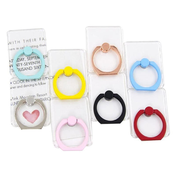 Transparent Universal 360° Finger Ring Metal Grip Stand Holder for Cell Mobile Phone - Itstechy.com
