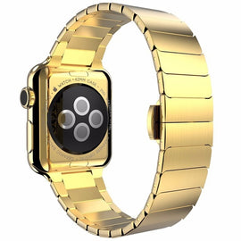 Stainless steel Band Strap for Apple Watch 4 3 link bracelet to iwatch 4 3 38 40 42 44mm Butterfly clasp Lock Link loop band - Itstechy.com