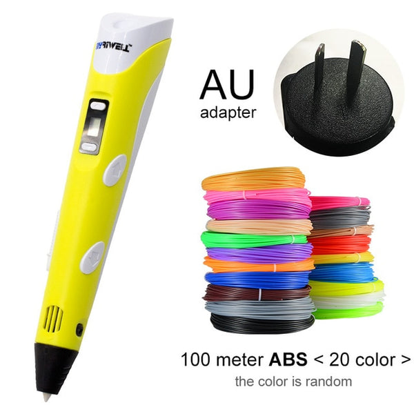 Myriwell 3D Pen LED Screen DIY 3D Printing Pen 100m ABS Filament Creative Toy Gift For Kids Design Drawing - Itstechy.com