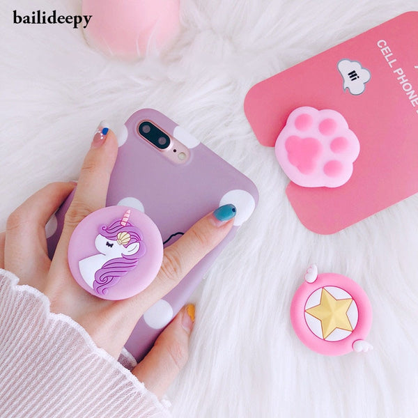 Trendy air bag phone holder round stand styling unicorn silicone expanding stand women accessories phone popsocket soporte movil - Itstechy.com