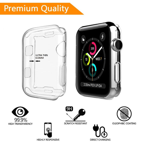 Smiling Apple I Watch 3 Case Buit in TPU Screen Protector All-Around Protective Case High Definition Clear Ultra-Thin Cover for - Itstechy.com