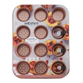 Rose Gold Perforated Mini Quiche & Tart Pan 12 Cup