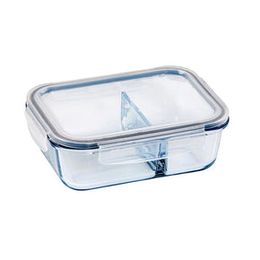 Glass Food Container Rectangle Divided 1000ml
