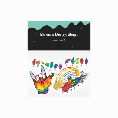 Deaf + Queer Sticker Pack