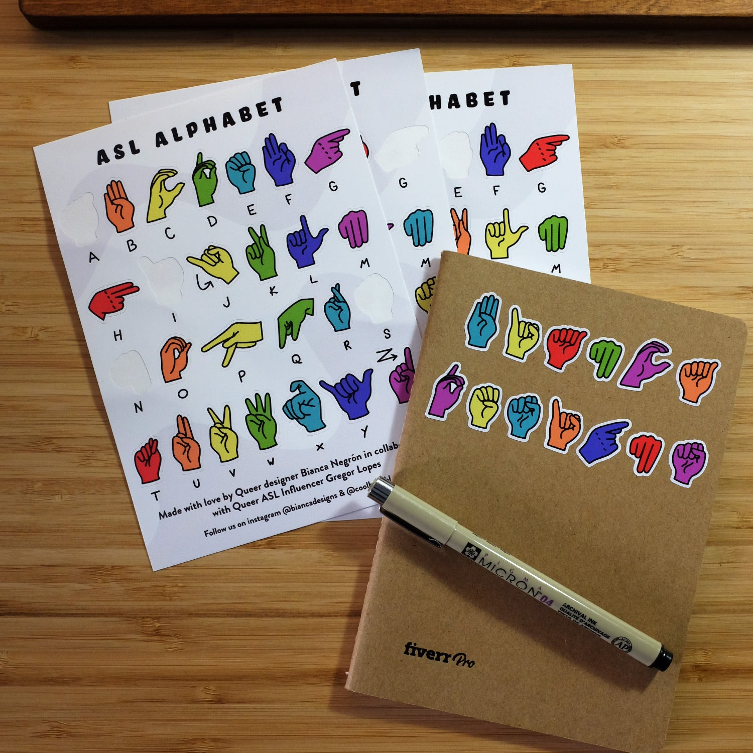 Deaf + Queer ASL Alphabet Sticker Sheet (Pack of 3)