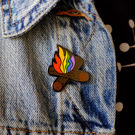 Flaming Rainbow Campfire Pin