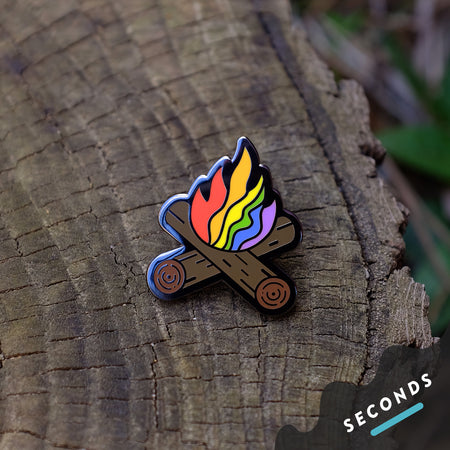 Seconds Sale - Flaming Rainbow Campfire Pin