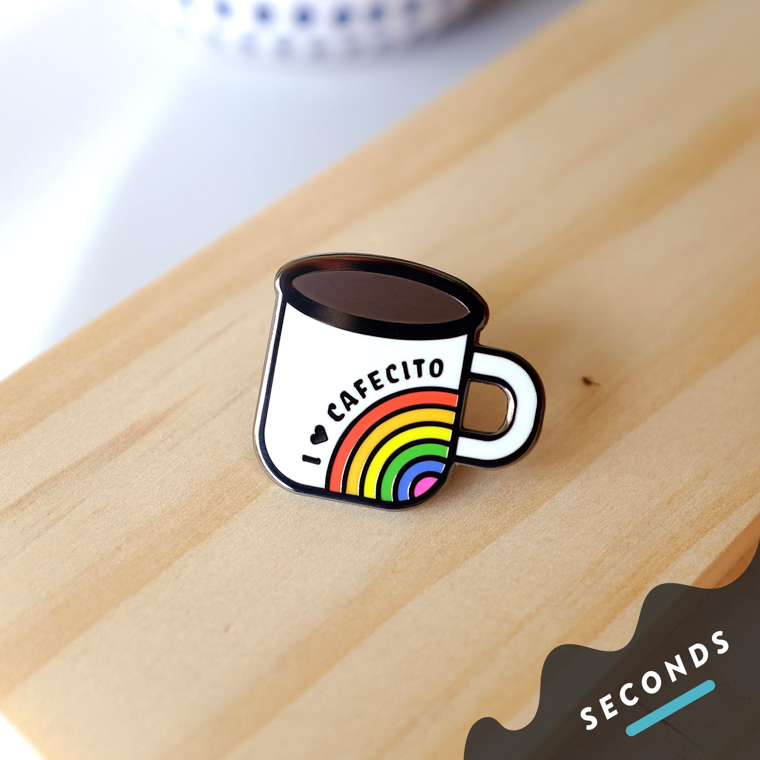 Seconds Sale - Cafecito Rainbow Mug Pin