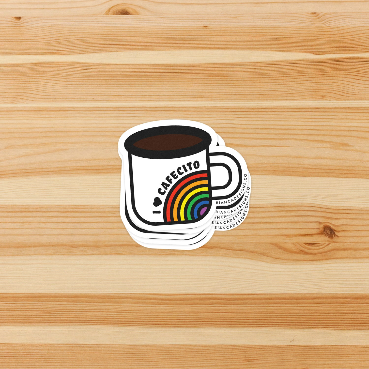 Cafecito Rainbow Mug Sticker