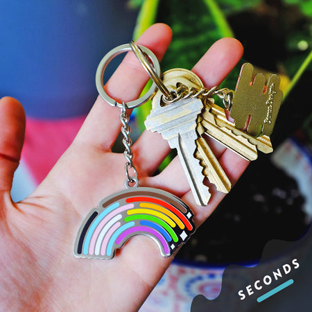 Seconds Sale - Inclusive Rainbow Keychain