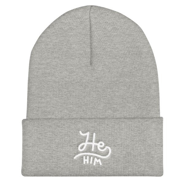 He/Him Pronouns Cuffed Beanie
