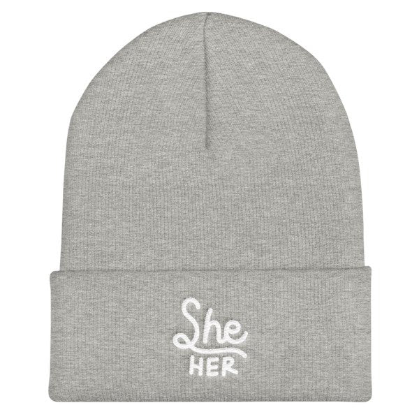 She/Her Pronouns Cuffed Beanie