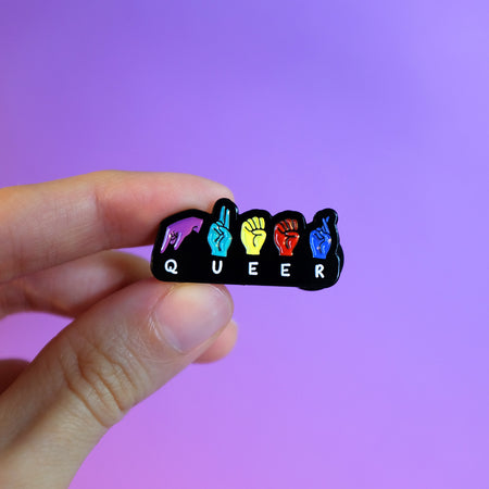 Queer Fingerspell ASL Pin by Bianca Designs and Gregor Lopes