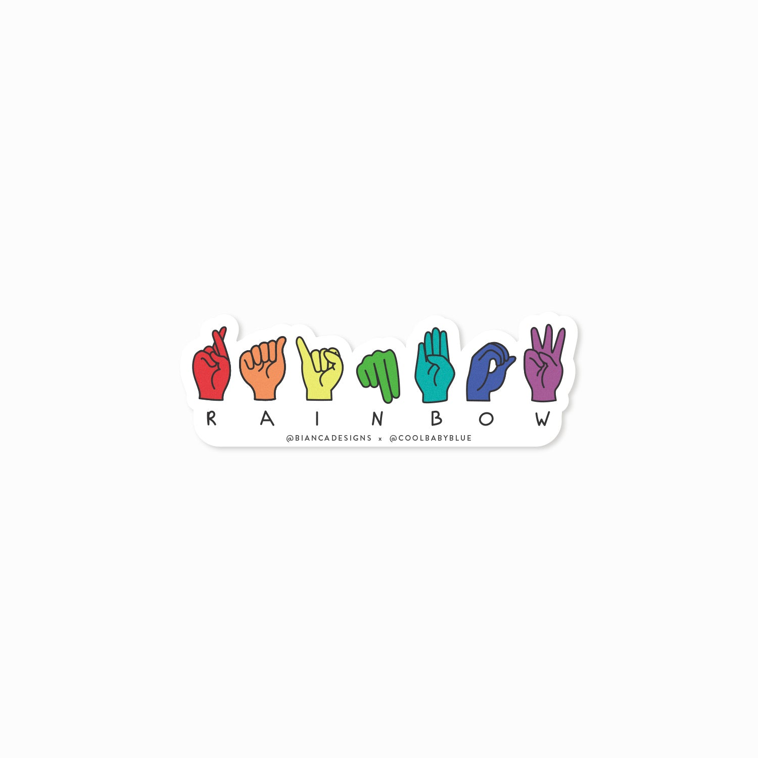 Rainbow ASL Fingerspell Sticker