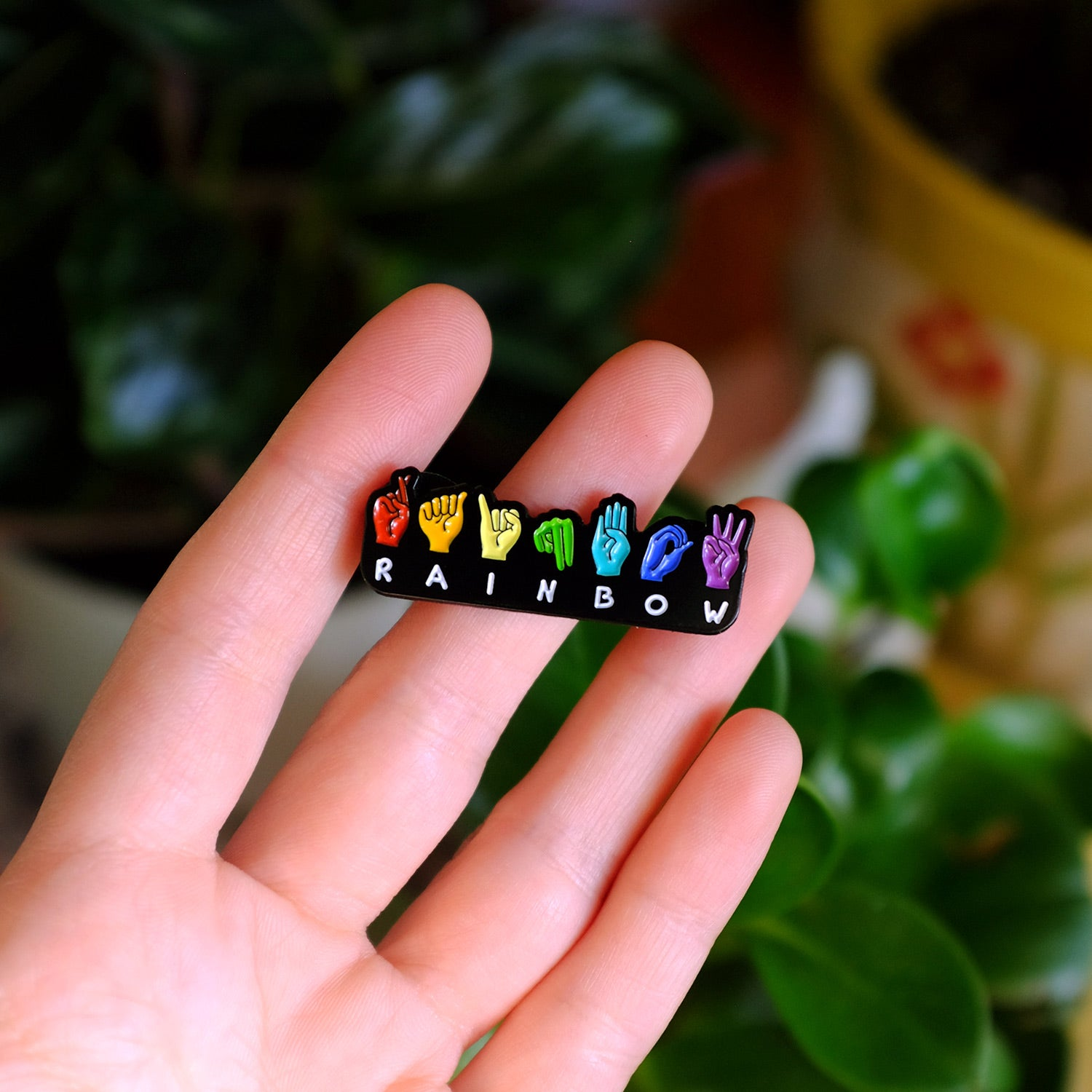 Rainbow ASL Fingerspell Pin