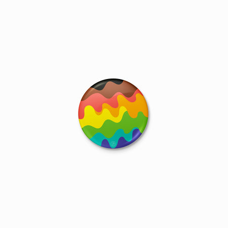 Wavy QTPOC Pride Rainbow Button