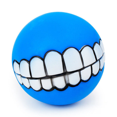 Pet Dog Ball Teeth Silicon Toy Chew Squeaker Sound - giftsgadgetsandgizmos.com