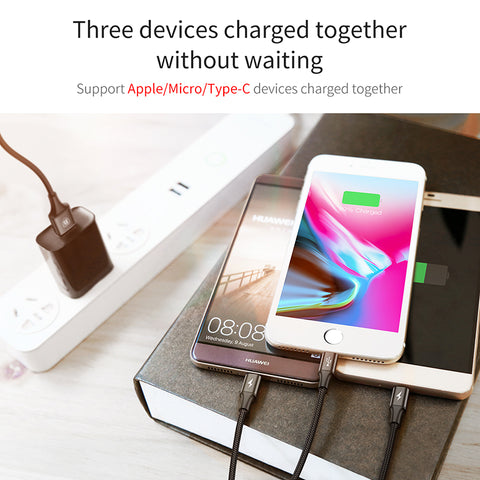 Image of Baseus 3 in 1 USB Charging Cable - giftsgadgetsandgizmos.com