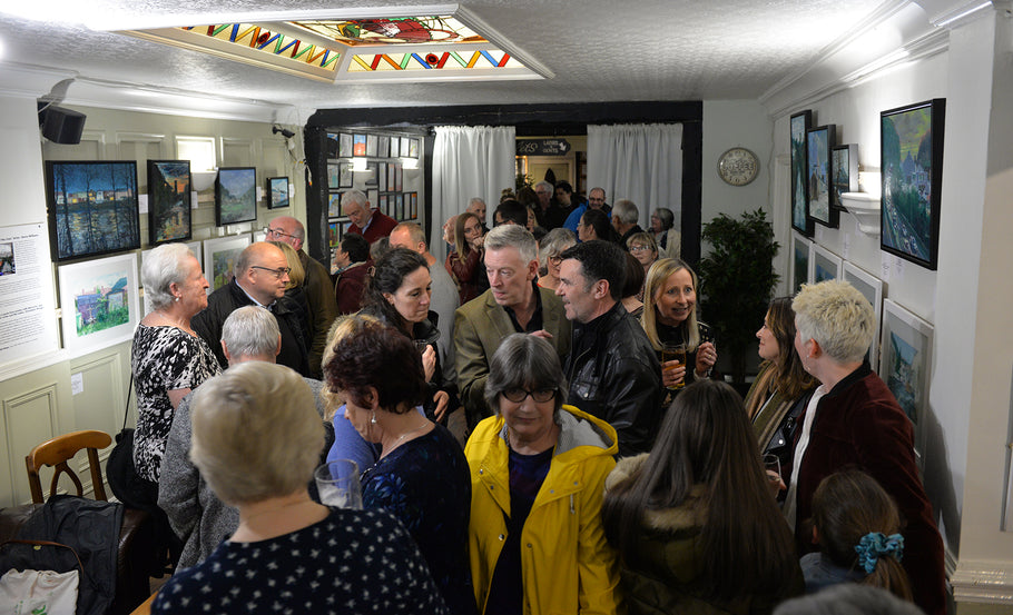 Huge turnout for the Kevin Williams' Both Sides of the River' Art Exhibition private viewing evening in Fagins, Taff's Well