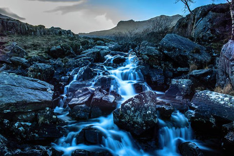 Running water with a slow shutter speed in Snowdonia