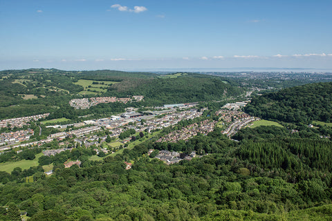 A view of Taff's Well nestling in the Taff Vale Valley from atop the Garth Mountain