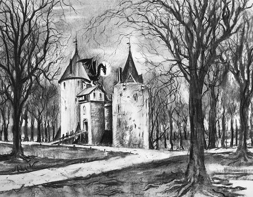 Castle Coch with Dragon - Charcoal on Paper