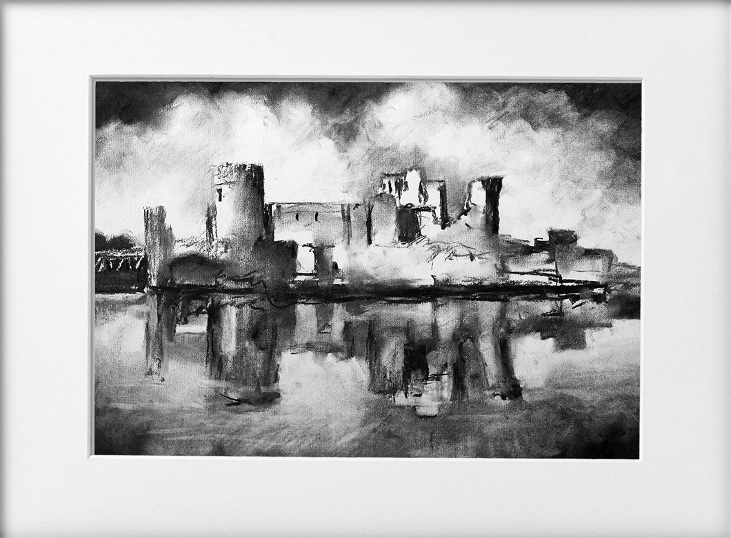 Mounted Print - (Unframed) - Caerphilly Castle
