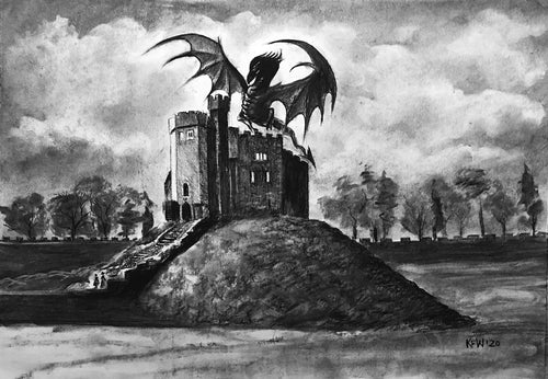 Cardiff Castle Keep with Dragon - Charcoal on Paper