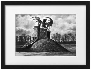 Signed Print - Framed - Cardiff Castle Keep with dragon