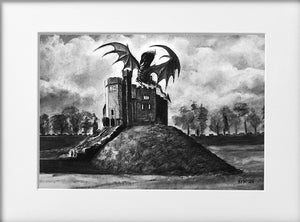 Mounted Print - (Unframed) - Cardiff Castle Keep with dragon