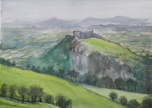Welsh Castles - Carreg Cennen - Watercolour on paper
