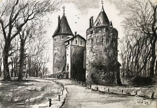 Castle Coch - Charcoal on Paper